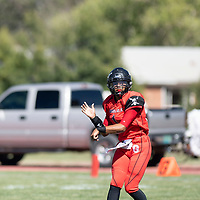 Sophomore Terrell Hocker throws a pass for the Grants Pirates, Saturday Sept 29, 2018 in their game against the Shiprock Chieftans.