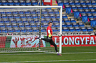 Wayne Hennessey , the Wales goalkeeper goes through his routine  during Wales football team training at the Cardiff city Stadium in Cardiff , South Wales on Saturday 8th October 2016, the team are preparing for their FIFA World Cup qualifier home to Georgia tomorrow. pic by Andrew Orchard, Andrew Orchard sports photography