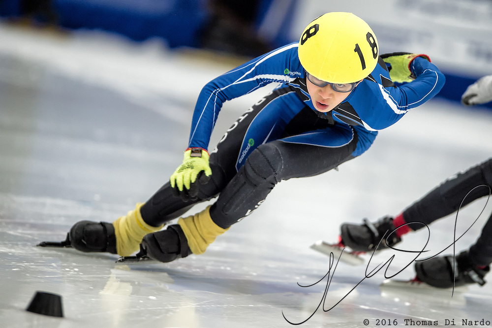 March 19, 2016 - Verona, WI - Eric Hwang, skater number 188 competes in US Speedskating Short Track Age Group Nationals and AmCup Final held at the Verona Ice Arena.