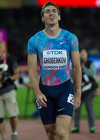 Athletics - 2017 IAAF London World Athletics Championships - Day Four, Evening Session<br /> <br /> Mens 110m Hurdles Final<br /> <br /> Segey Shubenkov (authorised Neutral Athlete) after coming in second place in the 110m hurdle final<br /> <br /> at the London Stadium<br /> <br /> COLORSPORT/DANIEL BEARHAM