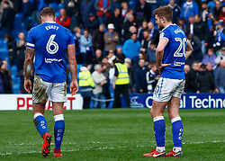 Ian Evatt of Chesterfield and Laurence Maguire of Chesterfield look dejected at full time - Mandatory by-line: Ryan Crockett/JMP - 14/04/2018 - FOOTBALL - Proact Stadium - Chesterfield, England - Chesterfield v Mansfield Town - Sky Bet League Two
