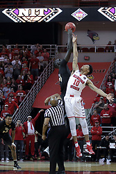 20 March 2017:  Tacko Fall and Phil Fayne(10) tip off during a College NIT (National Invitational Tournament) 2nd round mens basketball game between the UCF (University of Central Florida) Knights and Illinois State Redbirds in  Redbird Arena, Normal IL