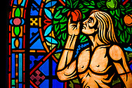 Stained glass depicting Adam (Genesis 3), photographed at St. Paul Lutheran Church in the Marigny area of New Orleans on Saturday, July 10, 2021. LCMS Communications/Erik M. Lunsford