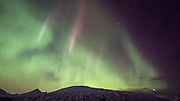 Northern lights over Stafafell in south-east Iceland