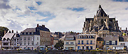 The town of Mayenne and the Basilique Notre Dame, Basilica of Our Lady, in France