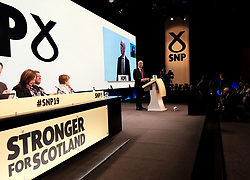 SNP Spring Conference, Saturday 27th April 2019<br /> <br /> Pictured: First Minister Nicola Sturgeon watches John Swinney MSP make his keynote speech<br /> <br /> Alex Todd | Edinburgh Elite media