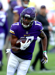 Minnesota Vikings' Jarius Wright during warm-up before during the International Series NFL match at Twickenham, London. PRESS ASSOCIATION Photo. Picture date: Sunday October 29, 2017. See PA story GRIDIRON London. Photo credit should read: Simon Cooper/PA Wire. RESTRICTIONS: News and Editorial use only. Commercial/Non-Editorial use requires prior written permission from the NFL. Digital use subject to reasonable number restriction and no video simulation of game.
