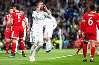 Real Madrid Sergio Ramos during Semi Finals UEFA Champions League match between Real Madrid and Bayern Munich at Santiago Bernabeu Stadium in Madrid, Spain. May 01, 2018. (ALTERPHOTOS/Borja B.Hojas)