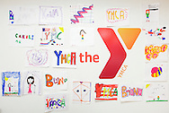 Monroe, New York - Children's drawings hang on the wall at the new South Orange Family YMCA on Wednesday, Feb. 16, 2011.
