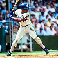 Spring training for Kansas City Royals Bo Jackson at bat in Ft Myers' famous Terry Park Ball Field, 1987.