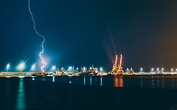 THEMENBILD - Blitze während eines Unwetters am Hafen der Stadt, aufgenommen am 13. August 2019 in Rijeka, Kroatien // Lightning during a thunderstorm at the port of the city Rijeka, Croatia on 2019/08/13. EXPA Pictures © 2019, PhotoCredit: EXPA/ JFK