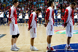 Players of USA and Turkey listening to the US national anthem during the finals basketball match between National teams of Turkey and USA at 2010 FIBA World Championships on September 12, 2010 at the Sinan Erdem Dome in Istanbul, Turkey.   (Photo By Vid Ponikvar / Sportida.com)