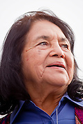 """16 JANUARY 2010 -- PHOENIX, AZ: Dolores Huerta (CQ) speaks to the crowd during the rally against Sheriff Joe Arpaio.  About 10,000 people marched the 2.5 miles from Falcon Park to the """"Tent City"""" on Durango to protest against Maricopa County Sheriff Joe Arpaio and his immigration enforcement tactics.  PHOTO BY JACK KURTZ"""