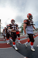 KELOWNA, BC - AUGUST 17:  Austin BOWES #71 of Okanagan Sun walks to the field against the Westshore Rebels at the Apple Bowl on August 17, 2019 in Kelowna, Canada. (Photo by Marissa Baecker/Shoot the Breeze)