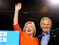 Democratic presidential nominee Hillary Clinton responds to cheering supporters as she is welcomed to the stage by Florida Sen. Bill Nelson at the Osceola Heritage Park Exhibition Hall on Monday, Aug. 8, 2016 in Kissimmee, Fla. Earlier in the day, Clinton campaigned in St. Petersburg, FL, USA. Photo by Joe Burbank/Orlando Sentinel/TNS/ABACAPRESS.COM