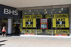 © Licensed to London News Pictures. 12/08/2016. British Homes Store flagship store in Oxford street is set to close at the weekend.  London, UK. Photo credit: Ray Tang/LNP