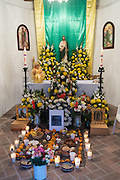 An altar decorated for Day of the Dead festival November 1, 2016 in San Miguel de Allende, Guanajuato, Mexico. The week-long celebration is a time when Mexicans welcome the dead back to earth for a visit and celebrate life.