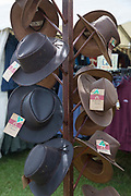 Men's hats for sale at the annual Suffolk Show 29th May 2019 in Ipswich in the United Kingdom. The Suffolk Show is an annual show that takes place in Trinity Park, Ipswich in the English county of Suffolk. It is organised by the Suffolk Agricultural Association.