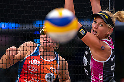 Mexime van Driel, Magareta Kozuch GER in action during the last day of the beach volleyball event King of the Court at Jaarbeursplein on September 12, 2020 in Utrecht.