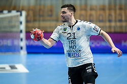 Gregor Potocnik of Trimo Trebnje during handball match between RK Trimo Trebnje and Rhein-Neckar Loewen in 6th Round of EHF Europe League 2020/21, on February 9, 2021 in Hala Tivoli, Ljubljana, Slovenia. Photo by Vid Ponikvar / Sportida