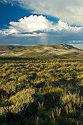 Red Desert of Wyoming in summmer with towering cumulus clouds over hills