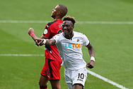 Tammy Abraham of Swansea city (10) celebrates after he scores his teams 1st goal. Premier league match, Swansea city v Huddersfield Town at the Liberty Stadium in Swansea, South Wales on Saturday 14th October 2017.<br /> pic by  Andrew Orchard, Andrew Orchard sports photography.