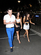 JESSICA LOWNDES showcased her substantial cleavage in a patterned maxi-dress while on a night out in Cannes Film Festival.<br /> ©Exclusivepix Media