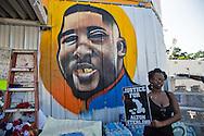 Makeshift memorial for Alton Sterling in Baton Rouge.