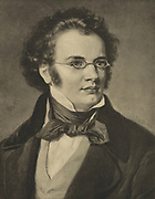 Franz Peter Schubert (1797-1828) Austrian composer of the early Romantic period.  Engraving.