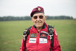 © Licensed to London News Pictures. 25/08/2016. <br /> <br /> Pictured: A portrait of D-Day veteran Ted Pieri. <br /> <br /> Fred Glover and Ted Pieri, two D-Day veterans who are both 90 years old have parachuted into Sarum Airfield, Wiltshire on Thursday 25th August 2016, 72 years after D-Day having earlier in the month parachuted into Merville Battery in France.<br /> <br /> <br /> Photo credit should read Max Bryan/LNP