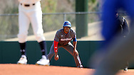 CARY, NC - MARCH 04: UMass Lowell's Oscar Marchena takes a lead off of first base. The University of Massachusetts Lowell River Hawks played the University of Notre Dame Fighting Irish on March 4, 2017, at USA Baseball NTC Stadium Field in Cary, NC in a Division I College Baseball game, and part of the Irish Classic tournament. UMass Lowell won the game 8-0.