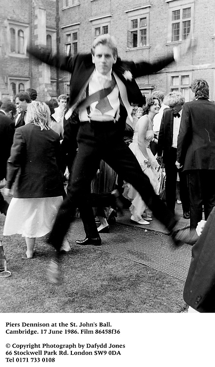 Piers Dennison at the St. John's Ball. Cambridge. 17 June 1986. Film 86458f36<br />© Copyright Photograph by Dafydd Jones<br />66 Stockwell Park Rd. London SW9 0DA<br />Tel 0171 733 0108