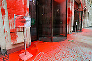 """Environmental Activist group Extinction Rebellion dyed-red blood Guildhall of the city of London on Friday, 27 Aug 2021. This is their fifth day of an ongoing two-week disruption protest campaign """"The Impossible Rebellion"""". (VX Photo/ Vudi Xhymshiti)"""