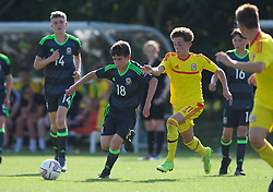 WREXHAM, WALES - Monday, July 22, 2019: Jake Roberts of North (L) and Jonah Willians of South (R) during the Welsh Football Trust Cymru Cup 2019 at Colliers Park. (Pic by Paul Greenwood/Propaganda)