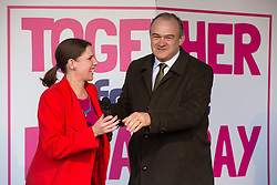 London, UK. 19 October, 2019. Jo Swinson and Sir Ed Davey, Leader and Deputy Leader of the Liberal Democrats, appear on stage before hundreds of thousands of pro-EU citizens at a Together for the Final Say People's Vote rally in Parliament Square as MPs meet in a 'super Saturday' Commons session, the first such sitting since the Falklands conflict, to vote, subject to the Sir Oliver Letwin amendment, on the Brexit deal negotiated by Prime Minister Boris Johnson with the European Union.