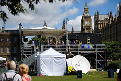 © Licensed to London News Pictures. 24/06/2016. London, UK. A view of the 'media city' camped outside the Houses of Parliament in London for the EU in a referendum. Photo credit: Ben Cawthra/LNP
