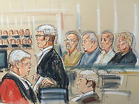 """Left to right<br /> Judge (His Honour Judge C Kinch QC Honorary Recorder of Greenwich), prosecutor Evans, his junior in foreground, defendants Carl Webb, William Lincoln, Jon Harbinson, Hugh Doyle<br /> <br /> The Hatton Garden jewel raid was the """"largest burglary in English legal history"""", a court has been told."""