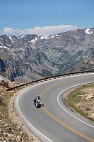 Motorcycle on Beartooth Highway Wyoming