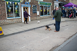 Canine confrontation before the start of the Tour de Yorkshire - a 122.5 km road race, between Tadcaster and Harrogate on April 29, 2017, in Yorkshire, United Kingdom.