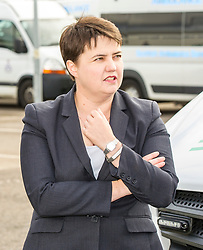Pictured: Ruth Davidson; <br /> <br /> Scottish Conservative leader Ruth Davidson, MSP,  joined shadow health secretary Miles Briggs to launch the party's Health Advisory Board at the Scottish ASmbulance Service Southeast Divisional HQ.  Ms Davidson and Mr Briggs were shown the equipment in the average ambulance by Richard Paton, Ambulance Service manager and Callum Johnston, Specialist medic.<br /> <br /> Ger Harley | EEm 6 September 2017