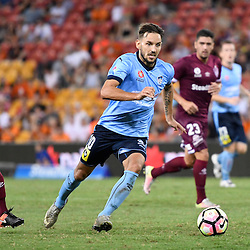 BRISBANE, AUSTRALIA - FEBRUARY 3: Milos Ninkovic of Sydney in action during the round 18 Hyundai A-League match between the Brisbane Roar and Sydney FC at Suncorp Stadium on February 3, 2017 in Brisbane, Australia. (Photo by Patrick Kearney/Brisbane Roar)
