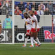 Bradley Wright-Phillips, (left), New York Red Bulls, is congratulated by Thierry Henry after Wright-Phillips had scored from the penalty spot during the New York Red Bulls Vs Portland Timbers, Major League Soccer regular season match at Red Bull Arena, Harrison, New Jersey. USA. 24th May 2014. Photo Tim Clayton