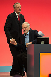 © London News Pictures . FILE PIC 28/09/2015 . Brighton , UK . JEREMY CORBYN and HILARY BENN at the 2015 Labour Party Conference in Brighton. Reports have suggested that Hilary Benn might be moved from his position as  shadow foreign secretary in this weeks expected shadow cabinet reshuffle. Photo credit : Joel Goodman/LNP