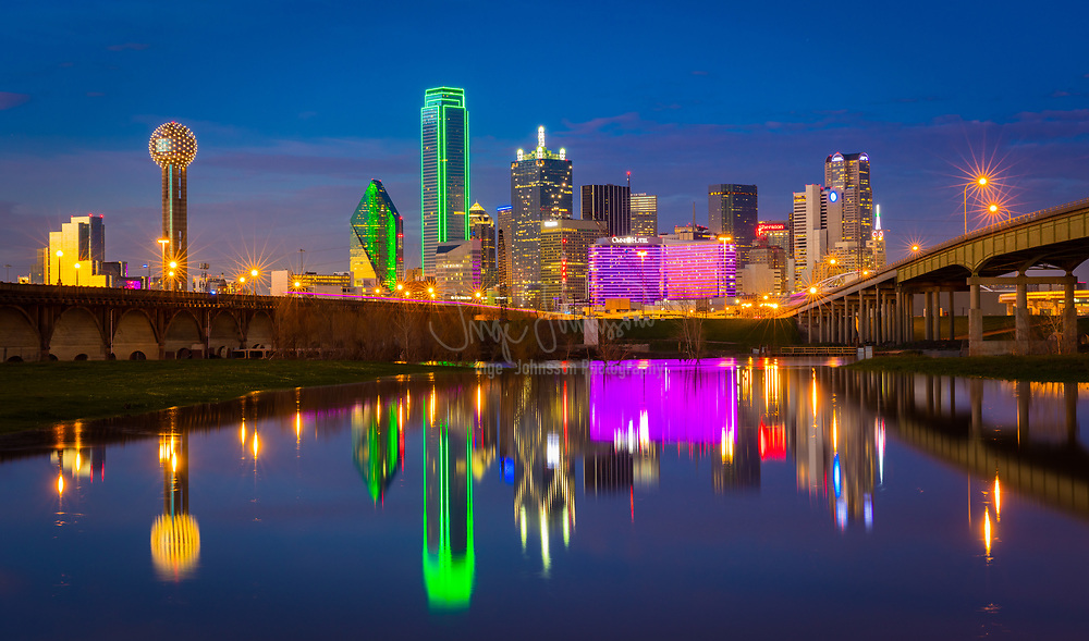 Downtown Dallas, Texas reflecting in the Trinity River