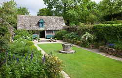 Well Court at Snowshill Manor with Sancta Maria Byre
