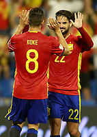 Spain's Koke Resurreccion (l) and Isco Alarcon celebrate goal during FIFA World Cup 2018 Qualifying Round match. October 6,2017.(ALTERPHOTOS/Acero)