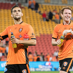 BRISBANE, AUSTRALIA - OCTOBER 7: Jack Hingert and Corey Brown of the Roar salute the fans during the round 1 Hyundai A-League match between the Brisbane Roar and Melbourne Victory at Suncorp Stadium on October 7, 2016 in Brisbane, Australia. (Photo by Patrick Kearney/Brisbane Roar)
