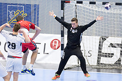 07.01.2017, BSFZ Suedstadt, Maria Enzersdorf, AUT, IHF Junior WM 2017 Qualifikation, Österreich vs Tschechische Republik, im Bild Florian Haag (AUT) // during the IHF Men's Junior World Championships qualifying match between Austria and Czech Republic at the BSFZ Suedstadt, Maria Enzersdorf, Austria on 2017/01/07, EXPA Pictures © 2017, PhotoCredit: EXPA/ Sebastian Pucher