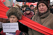 Moscow, Russia, 12/02/2005..Several thousand people demonstrate in central Moscow as part of a nationwide series of protests against recent social reforms which have replaced Soviet era benefits with cash payments.