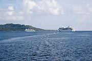 Cruise ships, Bora Bora, French Poltnesia<br />